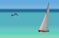Iate e golfinhos Fotografia de Stock