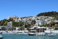 Iate em Clyde Quay Marina Oriental Bay Wellington Imagem de Stock