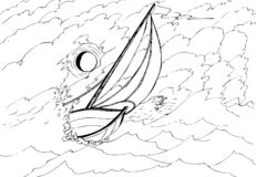 Iate no mar tormentoso iluminado pela lua imagem de stock
