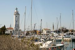 Iate no porto Foto de Stock Royalty Free