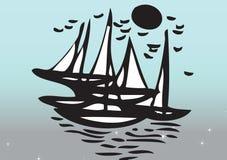 Iate que navegam no mar ilustração royalty free