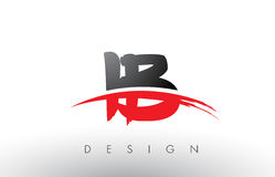 IB I B Brush Logo Letters with Red and Black Swoosh Brush Front Stock Images