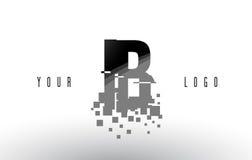 IB I B Pixel Letter Logo with Digital Shattered Black Squares Stock Image