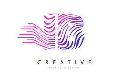 IB I B Zebra Lines Letter Logo Design with Magenta Colors Stock Images