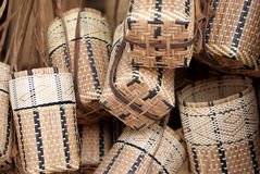 Iban cane basket. An Iban cane and bamboo basket.Iban is the biggest ethnic group living in Sarawak, Malaysia, North Borneo Stock Photography