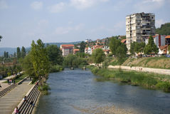 Ibar River between the Albanian and Serbian part of the city, Mi Stock Photo