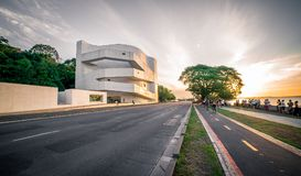 Iberê Camargo Foundation Building by Sunset royalty free stock photo