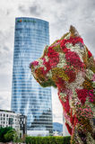 Iberdrola Tower and Puppy sculpture Stock Images