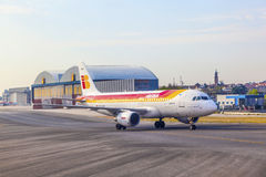 Iberia Airbus heads toward Terminal Stock Images