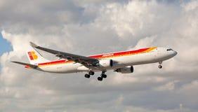 An Iberia Airbus 330-300 landing at Miami International Airport. Stock Image