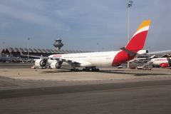 Iberia Airbus A340. MADRID, SPAIN - OCTOBER 20, 2014: Iberia Airline Airbus A340 at Madrid Barajas Airport. Iberia is part of International Airlines Group (IAG Stock Photo