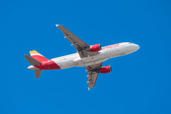 Iberia Airbus 320 is taking off from Tenerife South airport on January 13, 2016 Royalty Free Stock Photography