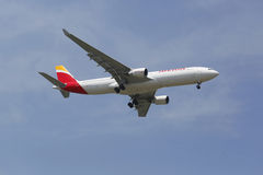 Iberia Airline Airbus A330 in New York sky before landing at JFK Airport Stock Photo