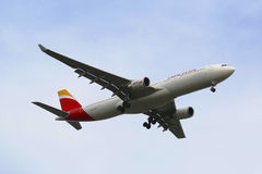 Iberia Airline Airbus A330 in New York sky before landing at JFK Airport Stock Image