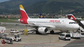 Iberia airways aircraft royalty free stock photo