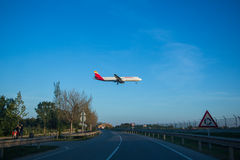 Iberia plane landing. Photograph of a plane landing in El Prat airport, Barcelona, Spain Stock Images