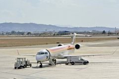Iberia Airplane at the airport Royalty Free Stock Photo