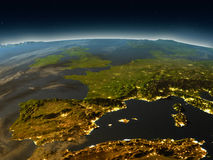 Iberia from space in the evening Royalty Free Stock Photography