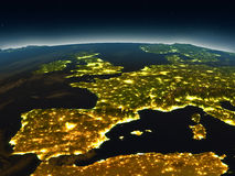Iberia from space in the evening Royalty Free Stock Photos