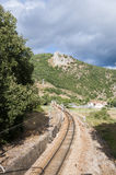 Iberian gauge railway track Stock Images