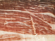Iberian Ham. Sliced Iberian ham. An exquisite Spanish food Stock Photography