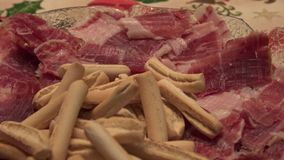 Iberian ham dish on the table of chrismast holiday traditional spanish food