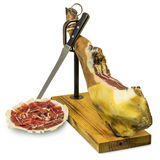 Iberian ham and ham slices Stock Photo
