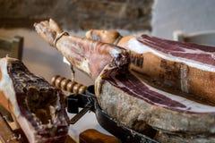 Iberian ham legs stock photo