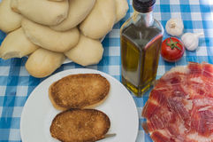 Iberian Ham. Plate  with  Iberian Ham , slices of Iberian Ham Stock Photography