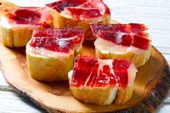 Iberian ham from Spain tapas pinchos Royalty Free Stock Photo