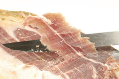Iberian ham strips cut Stock Image