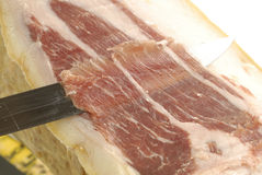 Iberian ham strips cut Royalty Free Stock Images