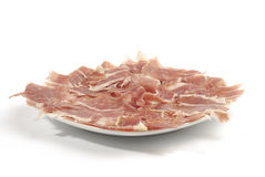 Iberian ham strips Stock Photo