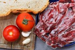 Iberian Ham with tomato Royalty Free Stock Photography