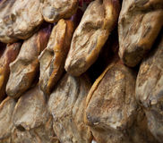 Iberian hams. High quality Iberian hams hanged down Stock Photo