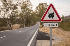 Iberian lynx sign. Iberian Lynx road sign warning in the roads of south of Alentejo, Portugal Royalty Free Stock Photos