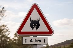 Iberian lynx sign. Iberian Lynx road sign warning in the south of Alentejo, Portugal Stock Photo