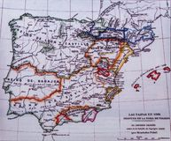 Iberian Peninsula 1086 map by Menendez Pidal. Taifas Kingdoms after Toledo capture. Badajoz, Spain - Dic 19th, 2018: Iberian Peninsula 1086 map by Menendez Pidal stock photos