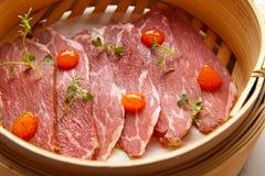 Iberian pork ham with XO sauce Stock Photo