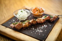 Iberian pork shish kebab Royalty Free Stock Images