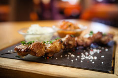Iberian pork shish kebab Stock Photo