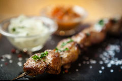 Iberian pork shish kebab Stock Images