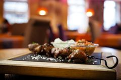 Iberian pork shish kebab Royalty Free Stock Photography