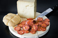 Iberian sausage and spanish cheese. Royalty Free Stock Images