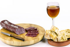 Iberian sausage table Royalty Free Stock Images