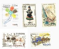 Iberian stamps. Stamps from Spain and Portugal Royalty Free Stock Images