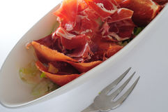 Iberico Ham. Spanish style iberico ham salad Royalty Free Stock Photos