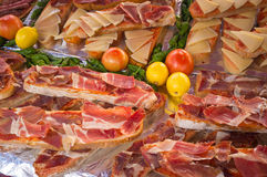 Iberico ham toasties Stock Photos