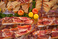 Iberico ham toasties. With tomato, a Spanish tapa classic Stock Image