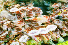 Iberico hamon  at spanish  market Royalty Free Stock Photo